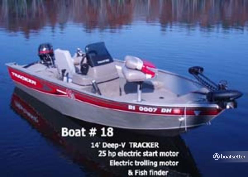 Rent a Tracker by Tracker Marine bass boat in Belgrade, ME near me