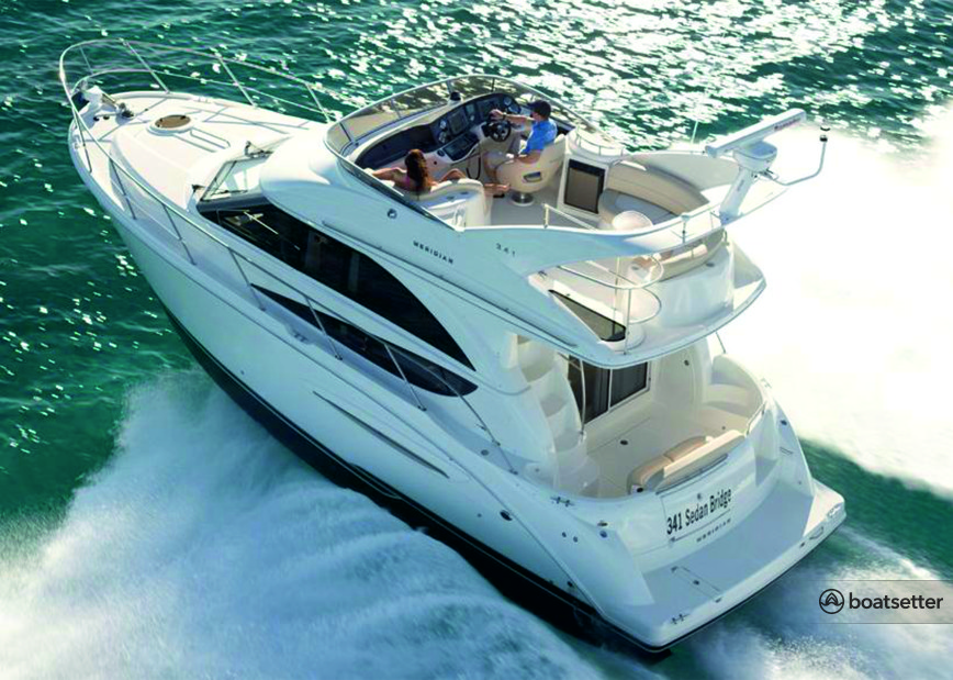 Rent a Meridian Yachts flybridge in Aventura, FL near me