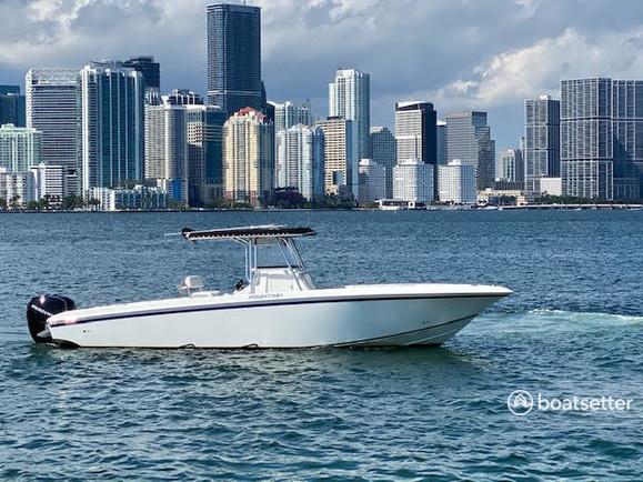 Rent a Fountain Powerboats center console in Miami, FL near me
