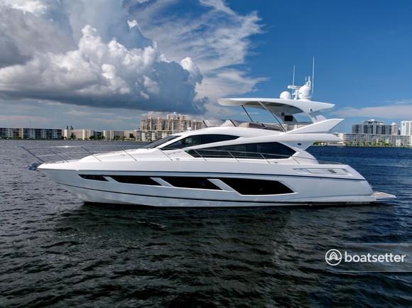 Rent a Sunseeker mega yacht in Miami Beach, FL near me